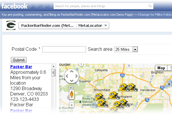 Facebook store locator included