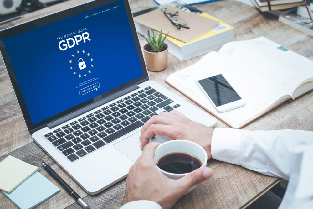 GDPR compliance concept on laptop