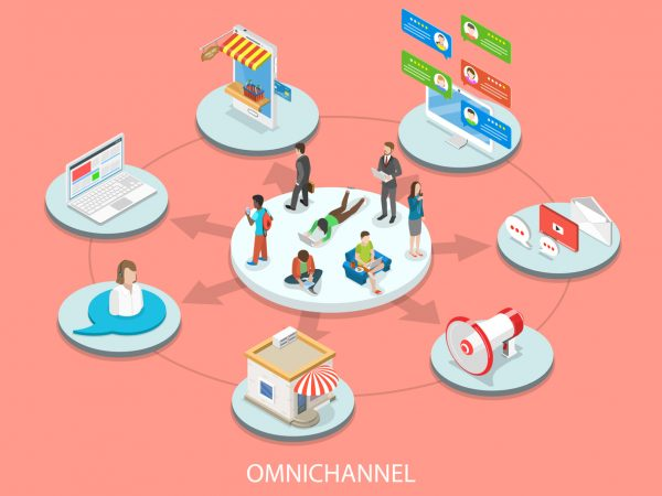 Omnichannel sales flat isometric vector concept. Customers surrounded by many communication types with seller.