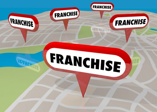 Franchises Locations Map Pins 3d Illustration